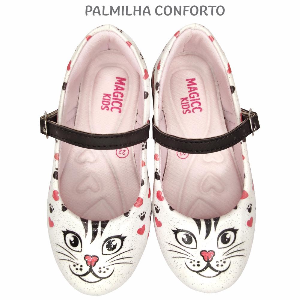 Kit Infantil Feminino Sapatilha e Bolsa Gatinho, Magicc Kids