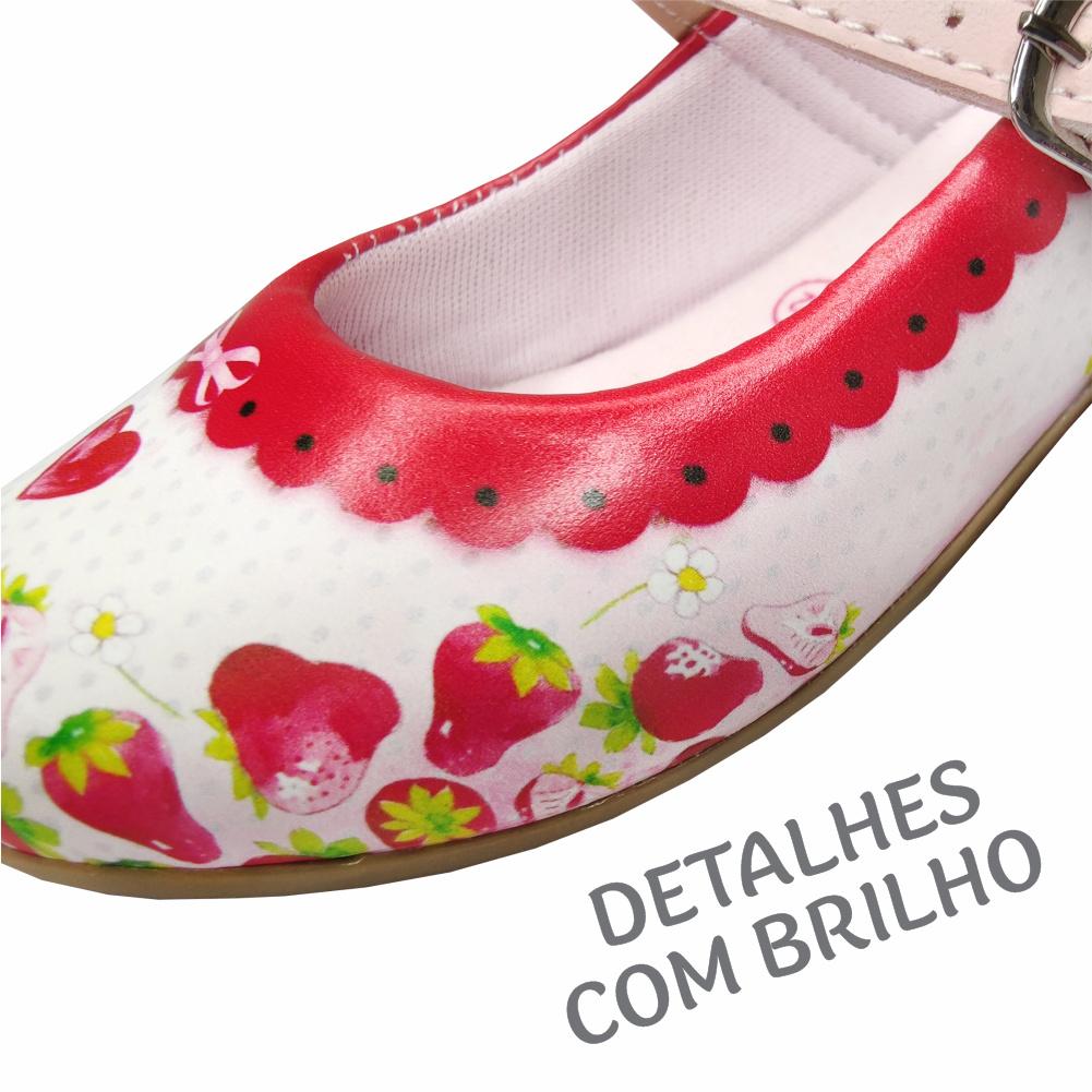 Kit Infantil Feminino Sapatilha e Bolsa Moranguinhos Coração, Magicc Kids