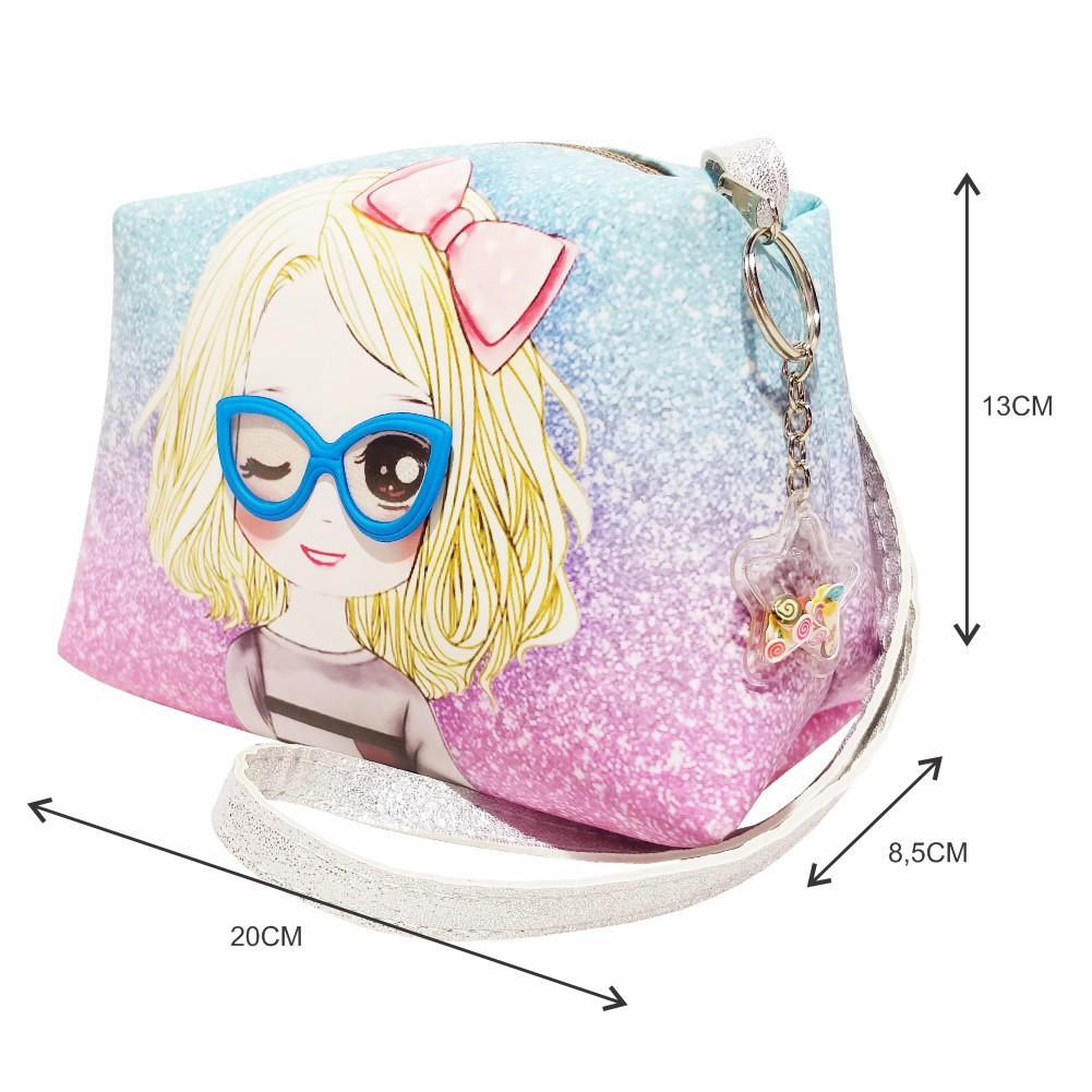 Kit Infantil Bolsa e Estojo Menininha Com Óculos com, Magicc Bolsas