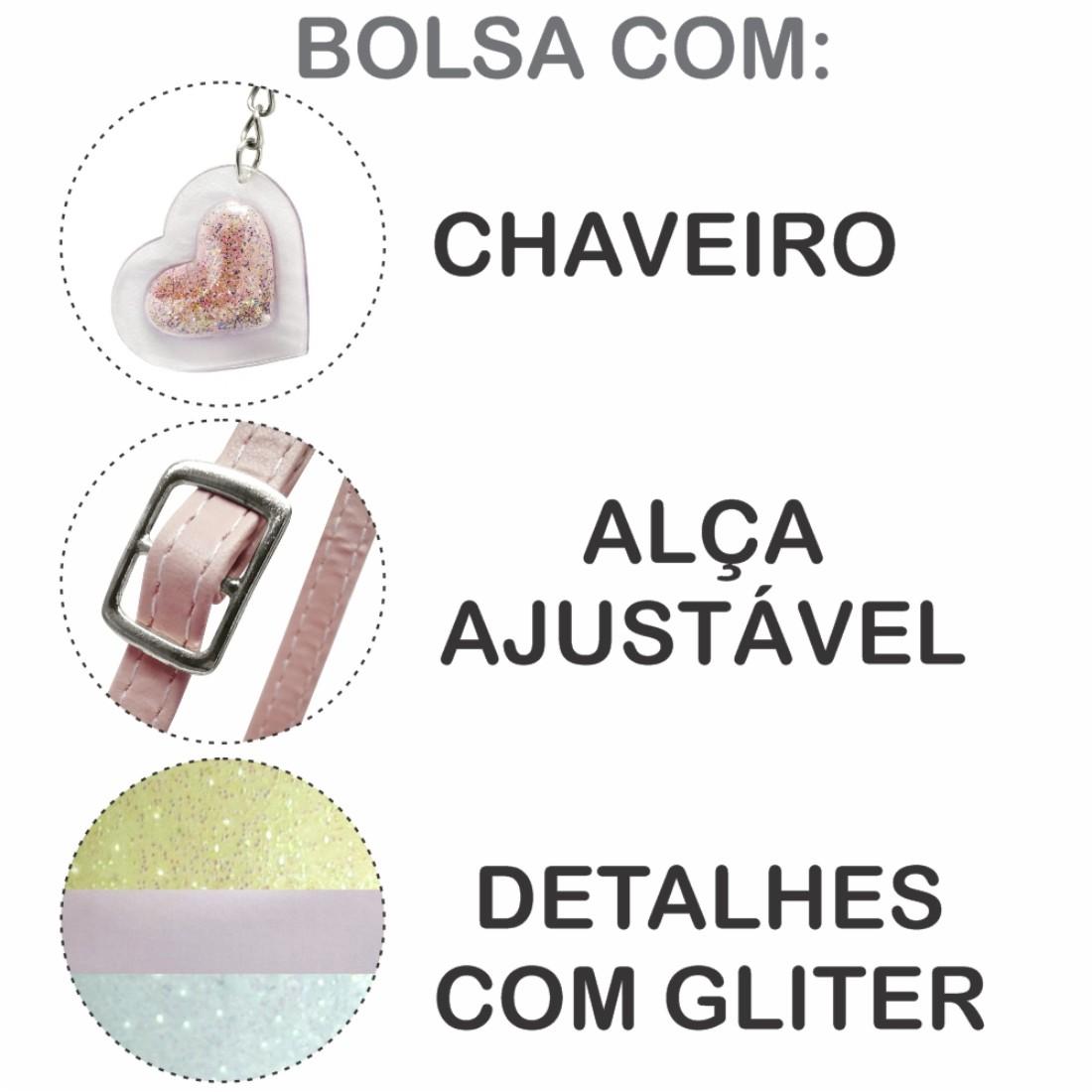 Kit Infantil Sapatilha, Bolsa e Estojo Listra Colorida Corações, Magicc Kids