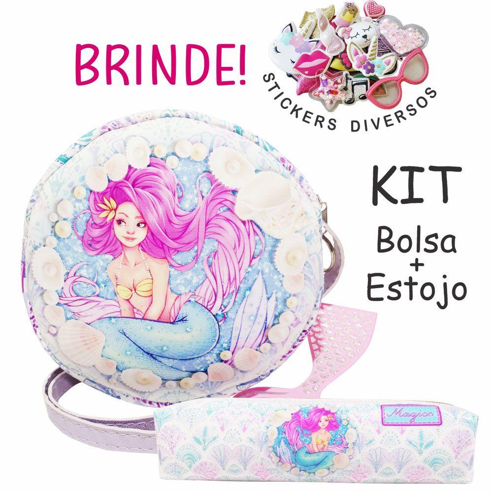 Kit Infantil Bolsa e Estojo, Sereia Charmosa - Magicc Bolsas