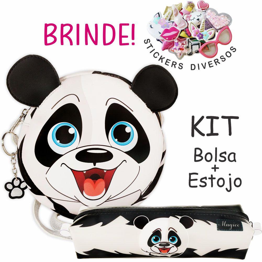 Kit Infantil Bolsa e Estojo, Ursinho Panda - Magicc Bolsas