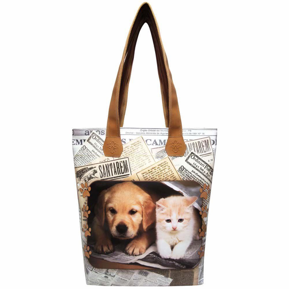 Kit Pet Feminino Jornal com Bolsa, Necessaire e Chinelo, Magicc