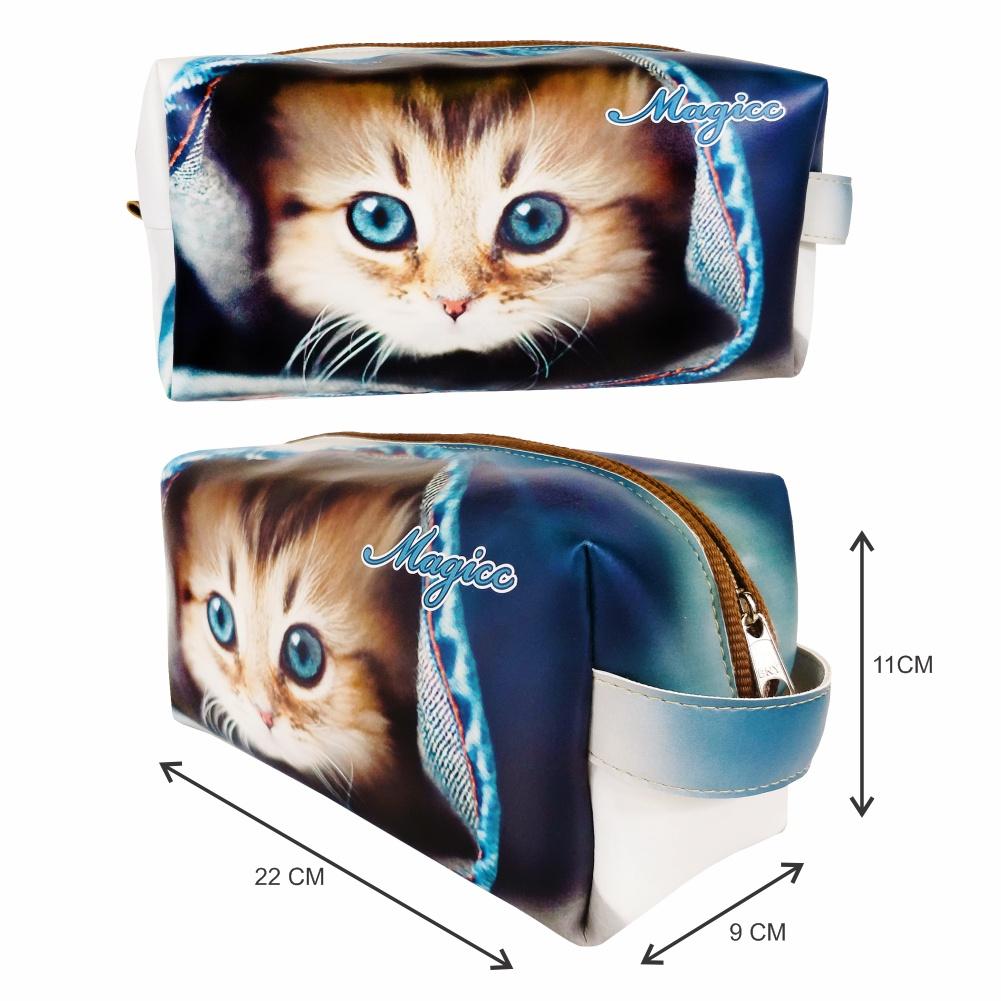 Kit Pet Feminino Gatinho Azul com Bolsa, Necessaire e Chinelo, Magicc