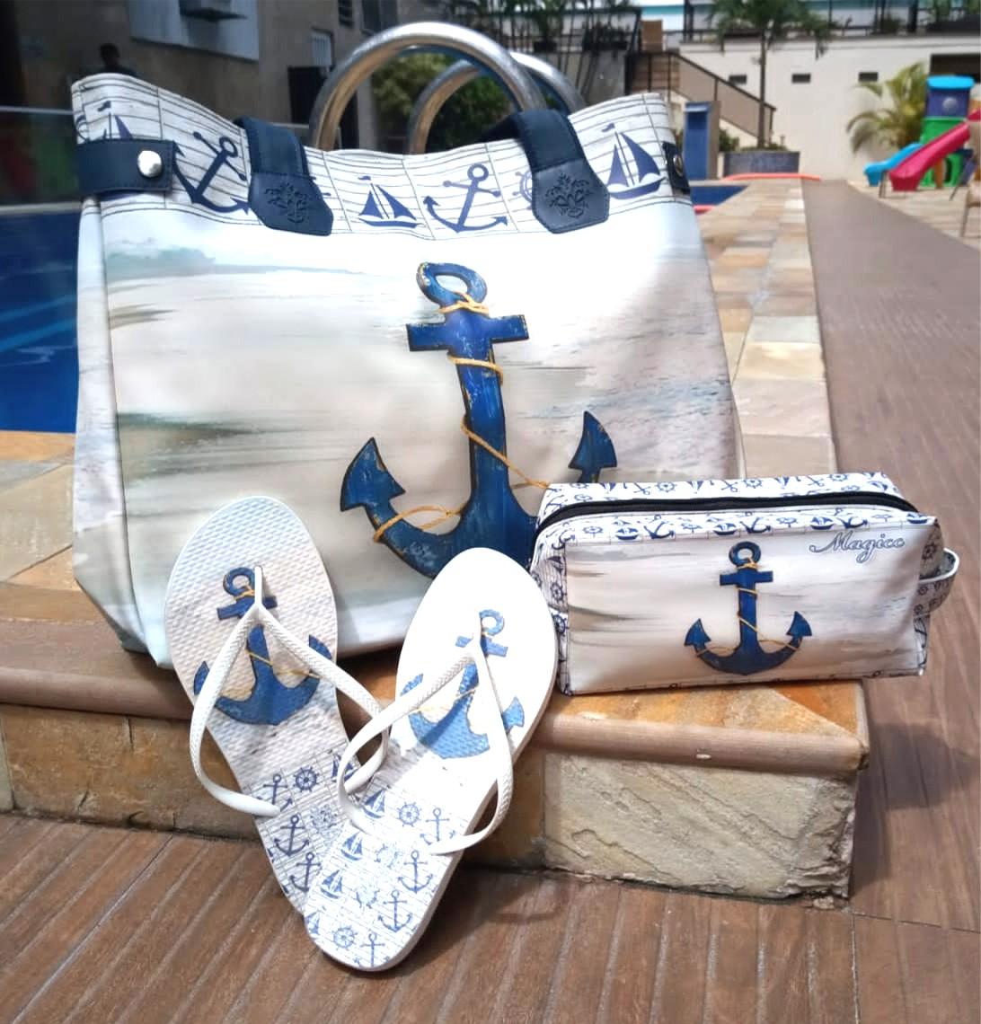Kit Praia Feminino Âncora Azul Marinho com Bolsa, Necessaire e Chinelo, Magicc