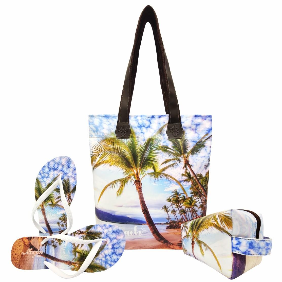 Kit Praia Feminino Beach Coqueiro com Bolsa, Necessaire e Chinelo, Magicc