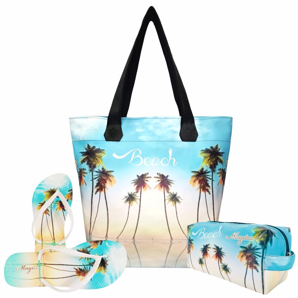 Kit Praia Feminino Céu Azul com Bolsa, Necessaire e Chinelo, Magicc