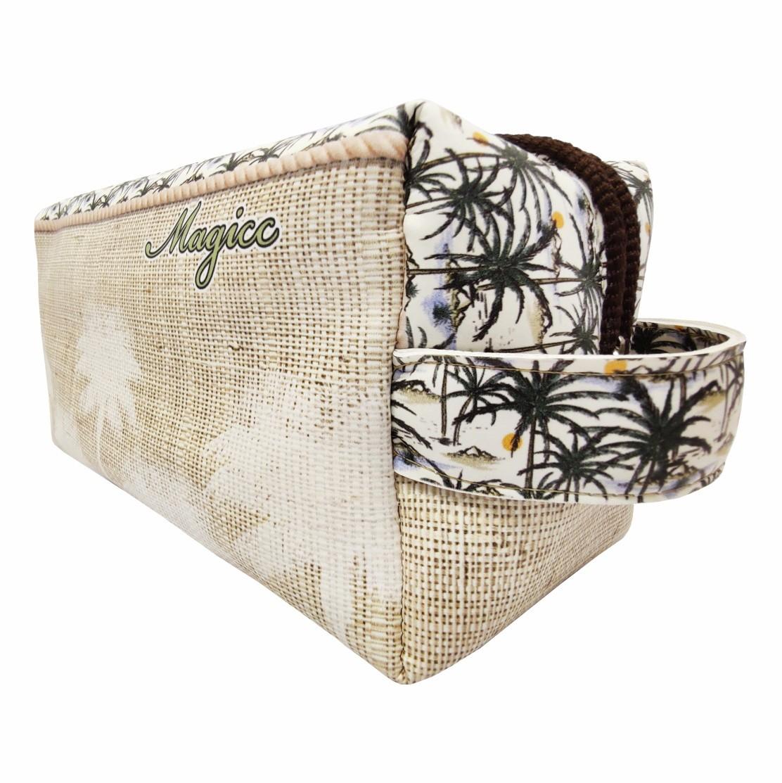 Kit Tropical Feminino Coqueiros Palha com Bolsa, Necessaire e Chinelo, Magicc