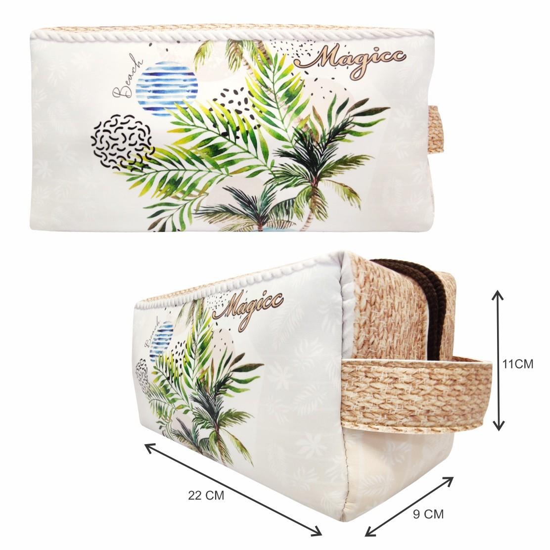 Kit Tropical Feminino Coqueiros Tropicais com Bolsa, Necessaire e Chinelo, Magicc