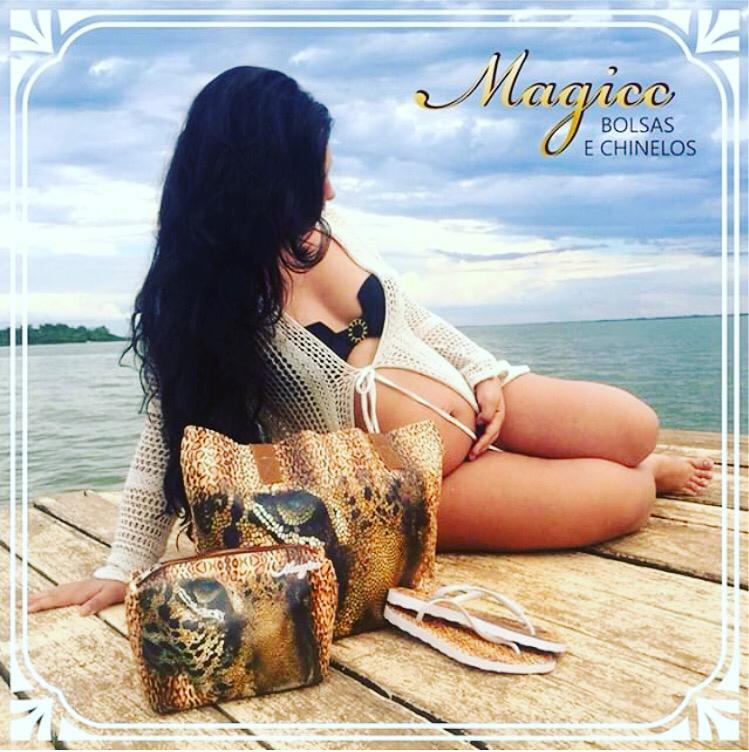 Kit Selva Feminino Onça com Bolsa, Necessaire e Chinelo, Magicc