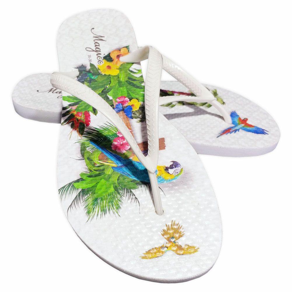 Kit Tropical Feminino Araras com Bolsa, Necessaire e Chinelo, Magicc