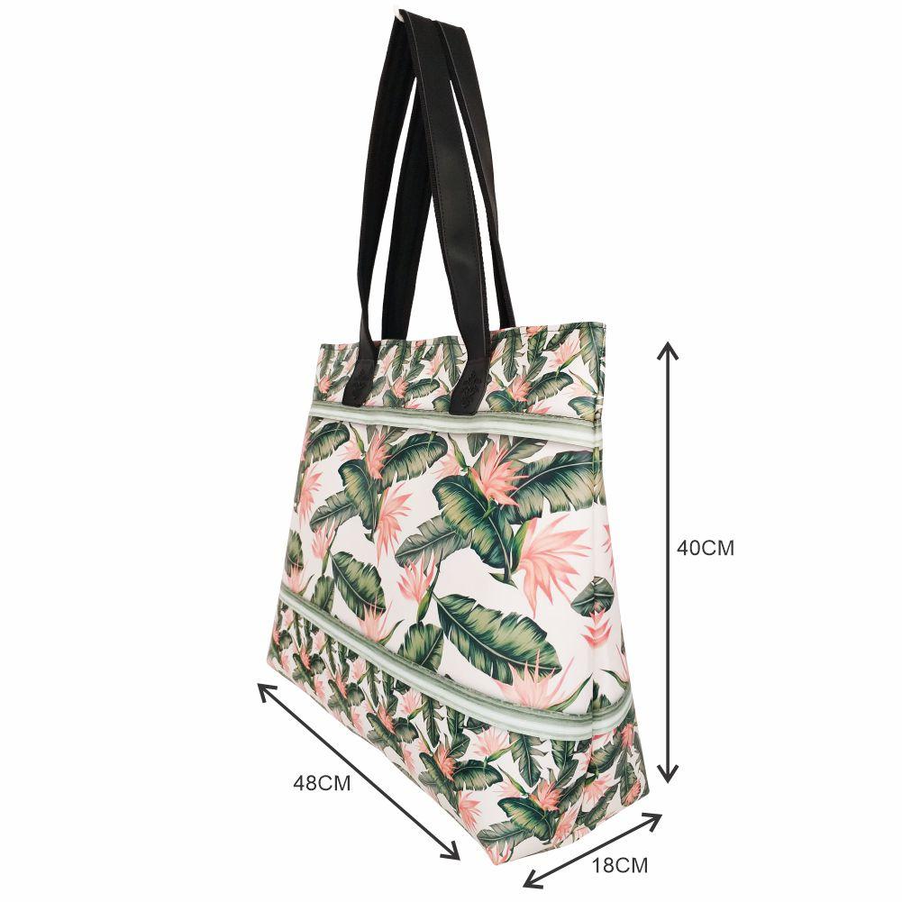 Kit Feminino Tropical Folhas com Bolsa, Necessaire e Chinelo, Magicc
