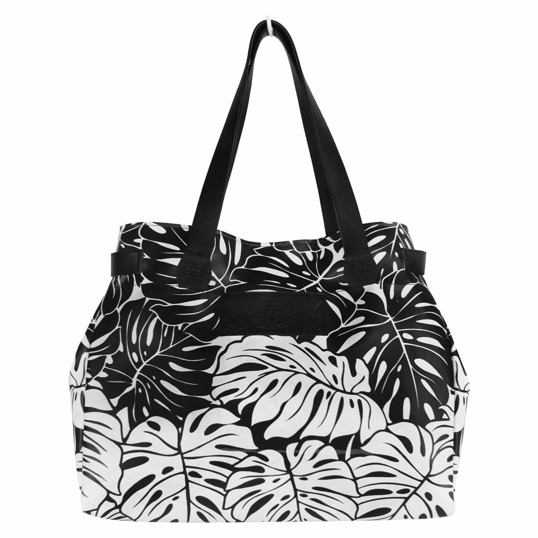Kit Tropical Feminino Branco e Preto com Bolsa, Necessaire e Chinelo, Magicc