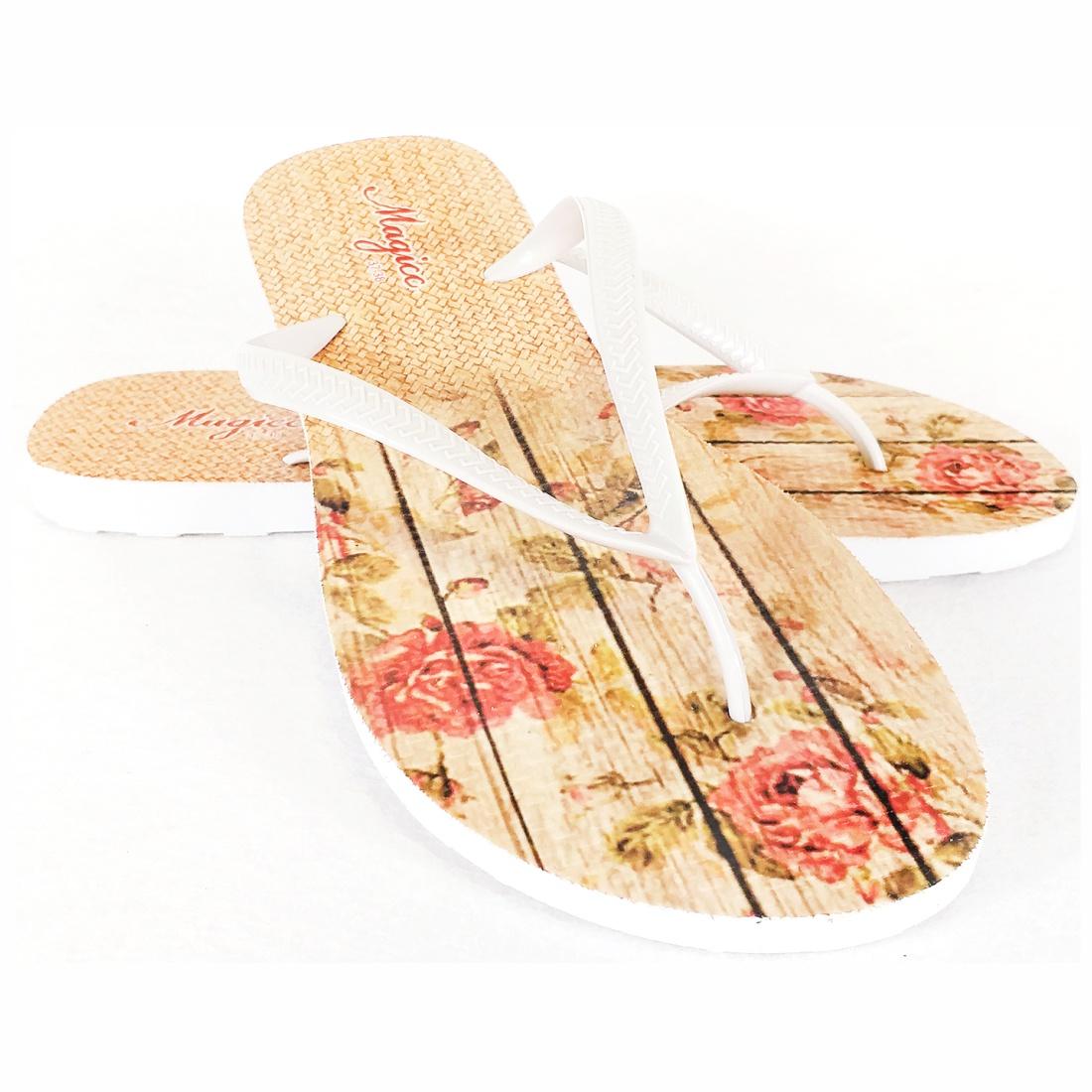 Kit Tropical Feminino Floral com Bolsa, Necessaire e Chinelo, Magicc
