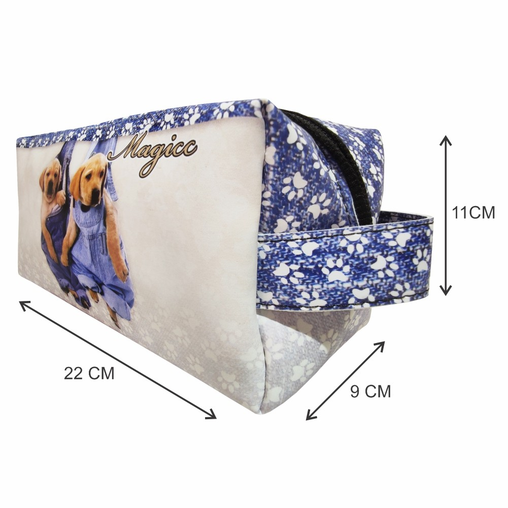 Necessaire Pet Feminina Cachorrinhos Jeans, Magicc