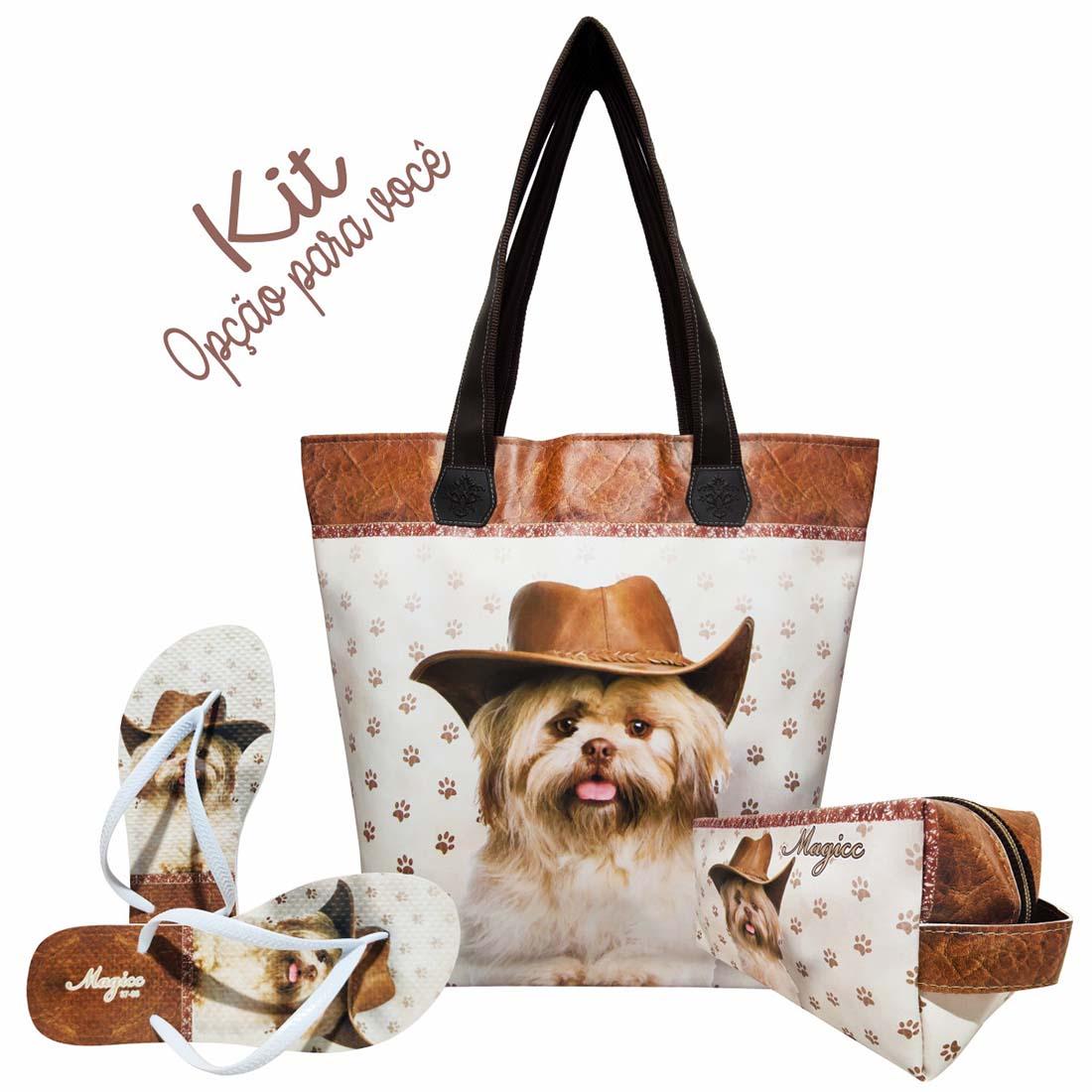Necessaire Pet Feminina Cachorro com Chapéu, Magicc