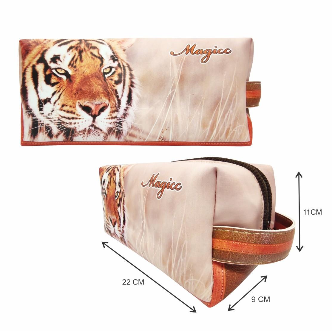Necessaire Selva Feminina Tigre Laranja, Magicc