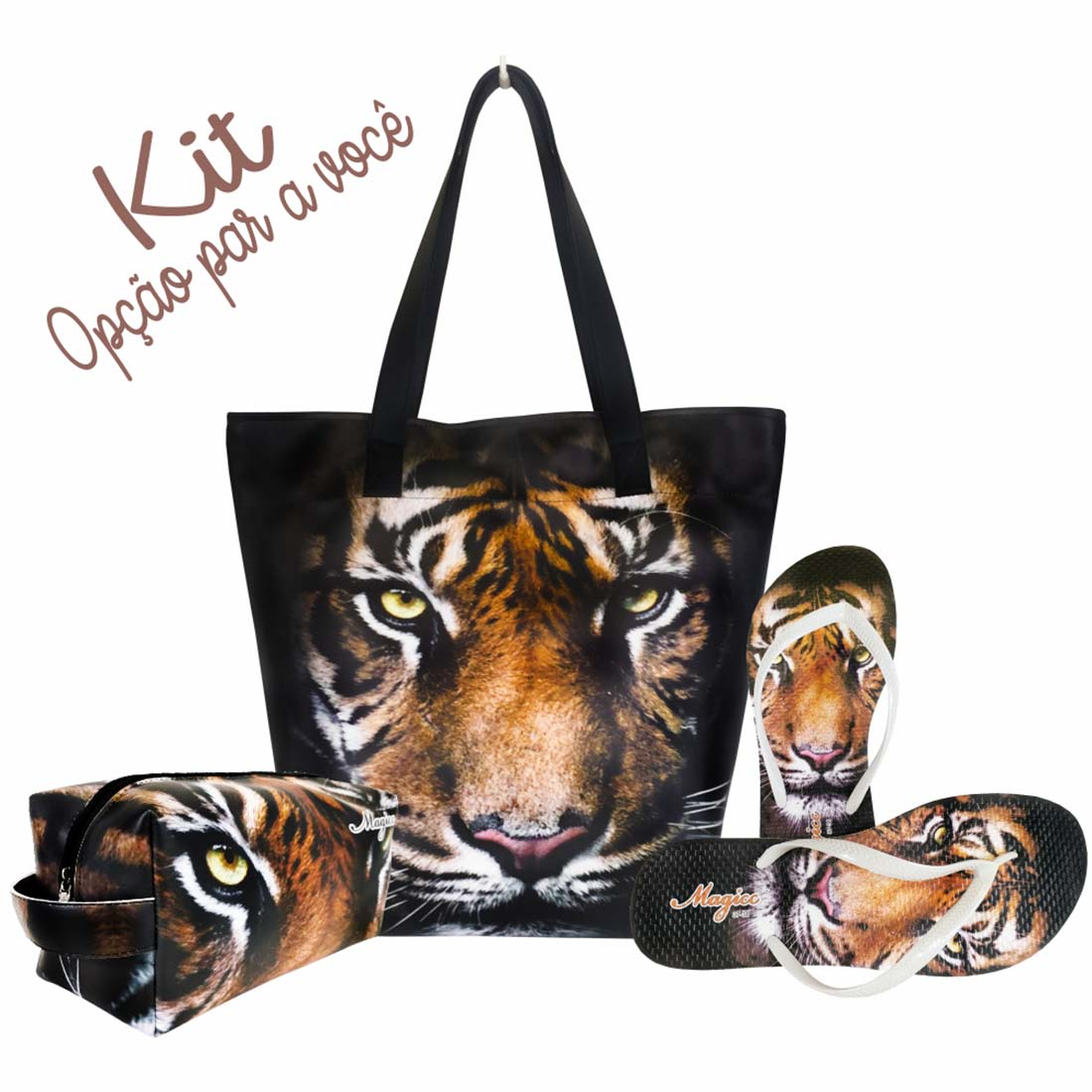 Necessaire Selva Feminina Tigre Marrom, Magicc