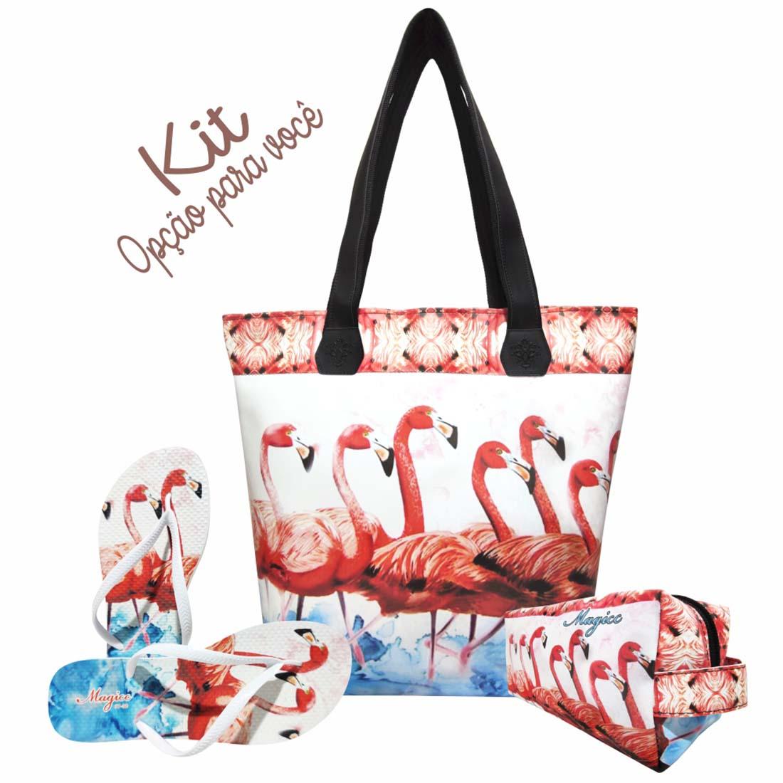 Necessaire Tropical Feminina Flamingos Vermelhos, Magicc
