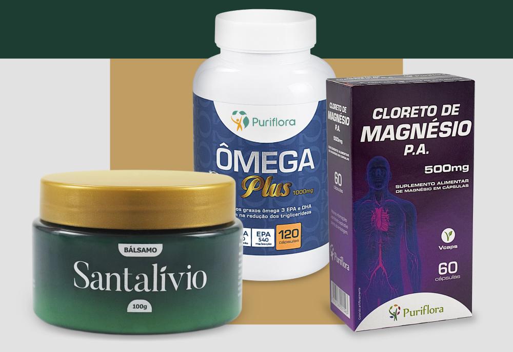 Kit Bálsamo Santalívio + Cloreto de Magnésio + Ômega Plus