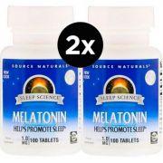 2X Melatonina 1 mg, Source Naturals,100 Comprimidos