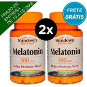 2x Melatonina, 300mcg, Sundown Naturals, 120 comprimidos vegetarianas ( Total de 240 comprimidos)