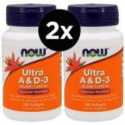 2X Vitaminas Ultra A e D3 100 Cápsulas - Now Foods