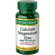 Cálcio, Magnésio, Zinc com Vitamina D3, Nature's Bounty, 100 Comprimidos