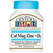 Cálcio, Magnesio, Zinco e Vitamina D3 -(ESSENCIAL PARA OS OSSOS) - 90 tablets - 21 ST Century