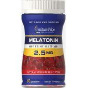 Melatonina 2,5mg (Goma) - Puritan's Pride - 60 gomas mastigáveis - Sabor Morango