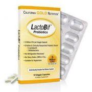 Probióticos LactoBif - California Gold Nutrition, 5 bilhões de CFU, 10 cápsulas