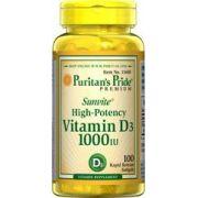 Vitamina D3, 1.000IU, Puritan's Pride, 100 Cápsulas - Alta Potência