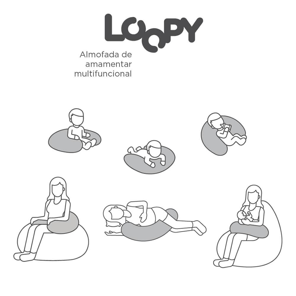 Almofada De Amamentação Fom Loopy Mescla Cinza