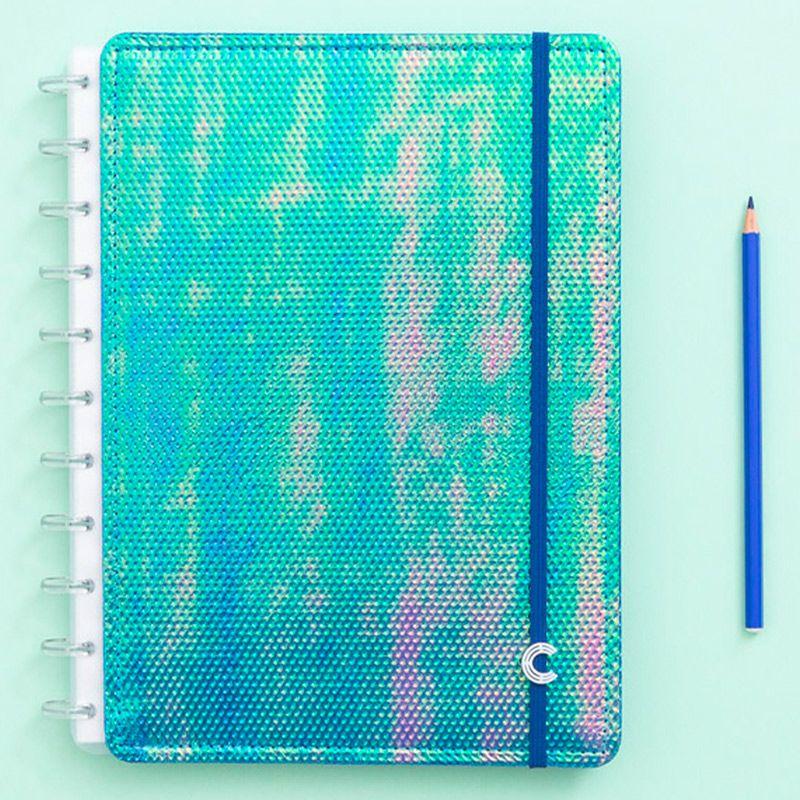 Caderno Inteligente Grande Sereiando Azul Holográfico