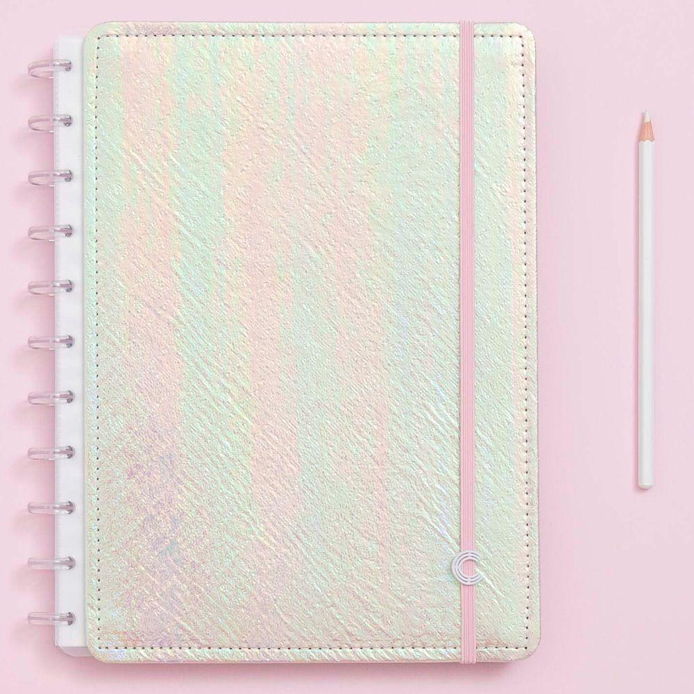 Caderno Inteligente Grande Sereiando Rosa Holográfico
