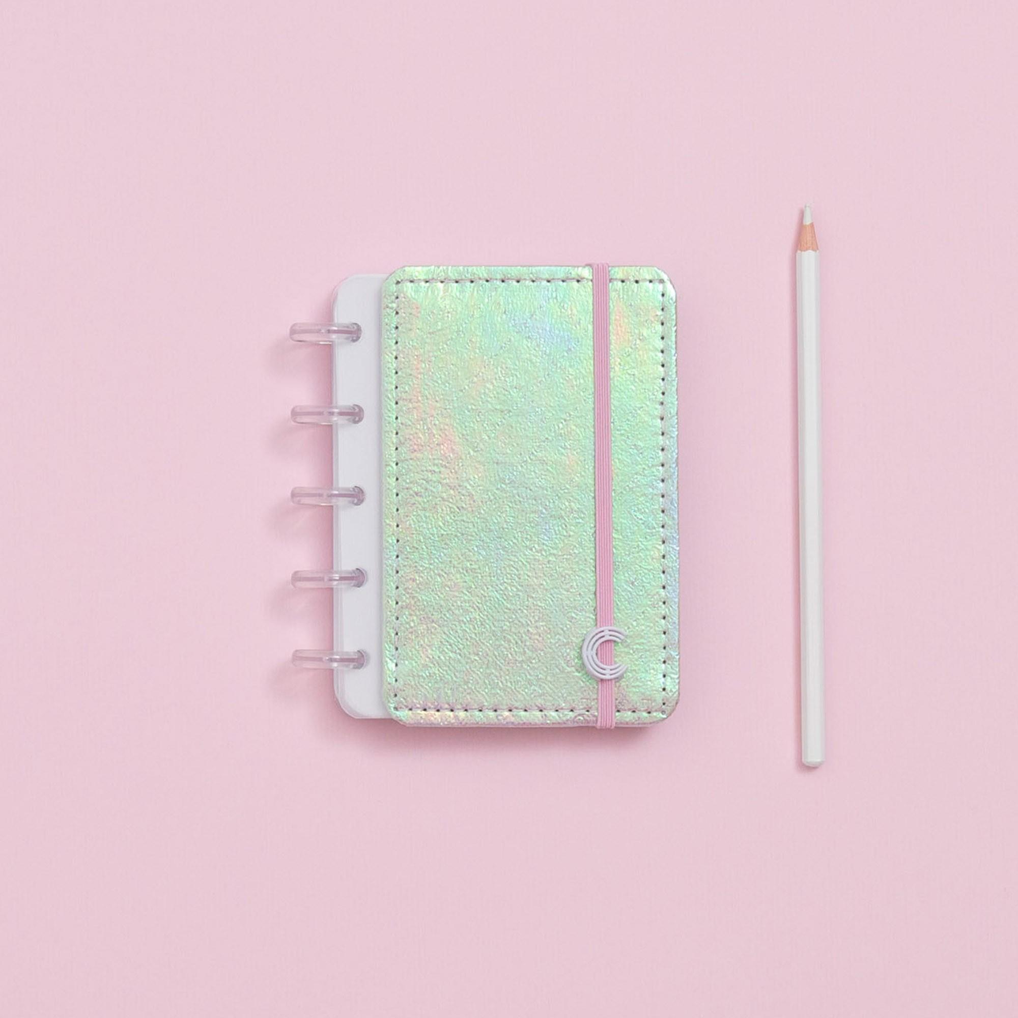 Caderno Inteligente Inteligine Sereando Rosa Holográfico