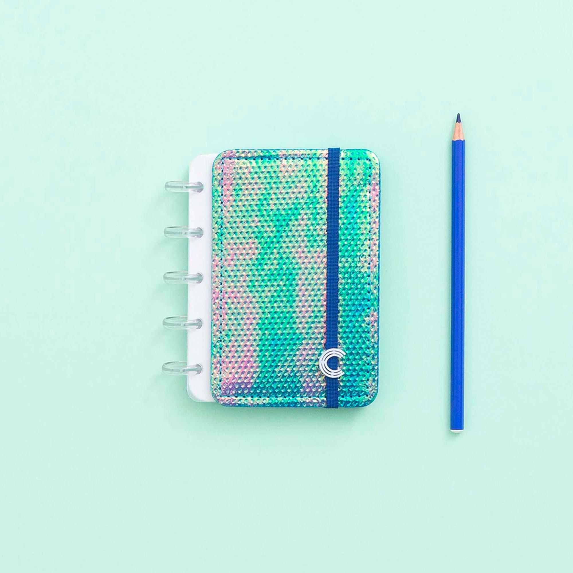 Caderno Inteligente Inteligine Sereiando Azul Holográfico