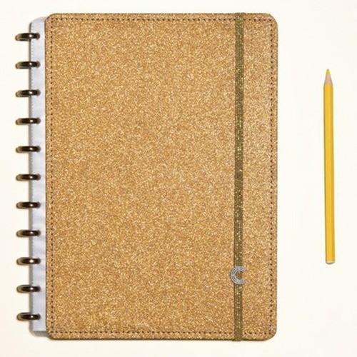 Caderno Inteligente Médio Glitter Bronze