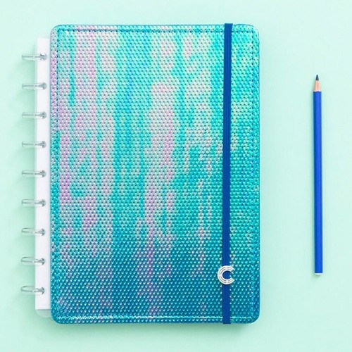 Caderno Inteligente Médio Sereiando Azul Holográfico