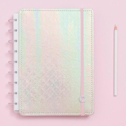 Caderno Inteligente Médio Sereiando Rosa Holográfico