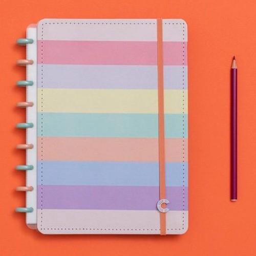 Caderno Inteligente Médio Tons Pastel Arco-Íris