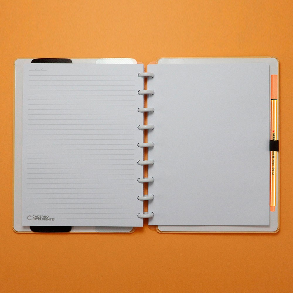 Caderno Inteligente Médio Tons Pastel Laranja