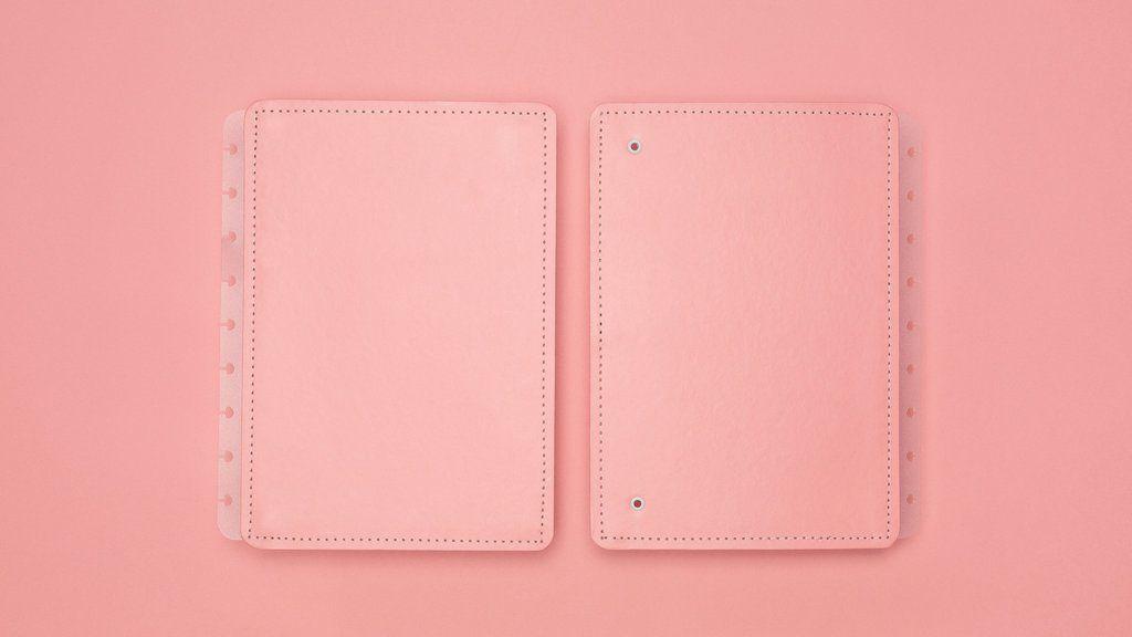 Capa e Contracapa Caderno Inteligente Medio Rose Pastel