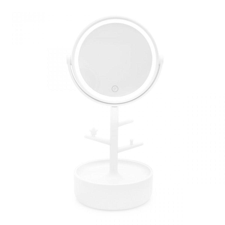 Espelho LED Porta-Bijoux Branco