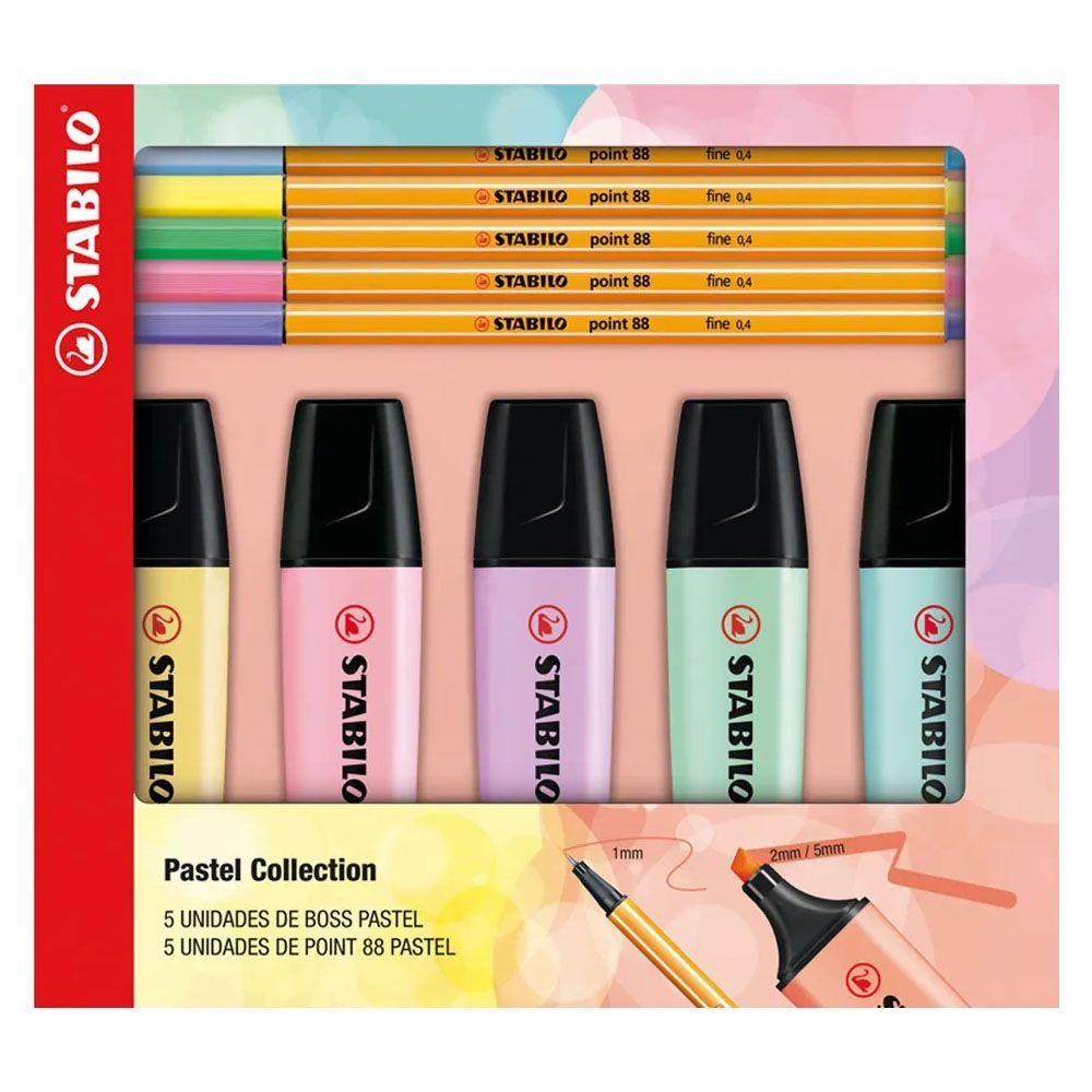 Kit Canetas Stabilo Point 88 E Marca-texto Boss Pastel