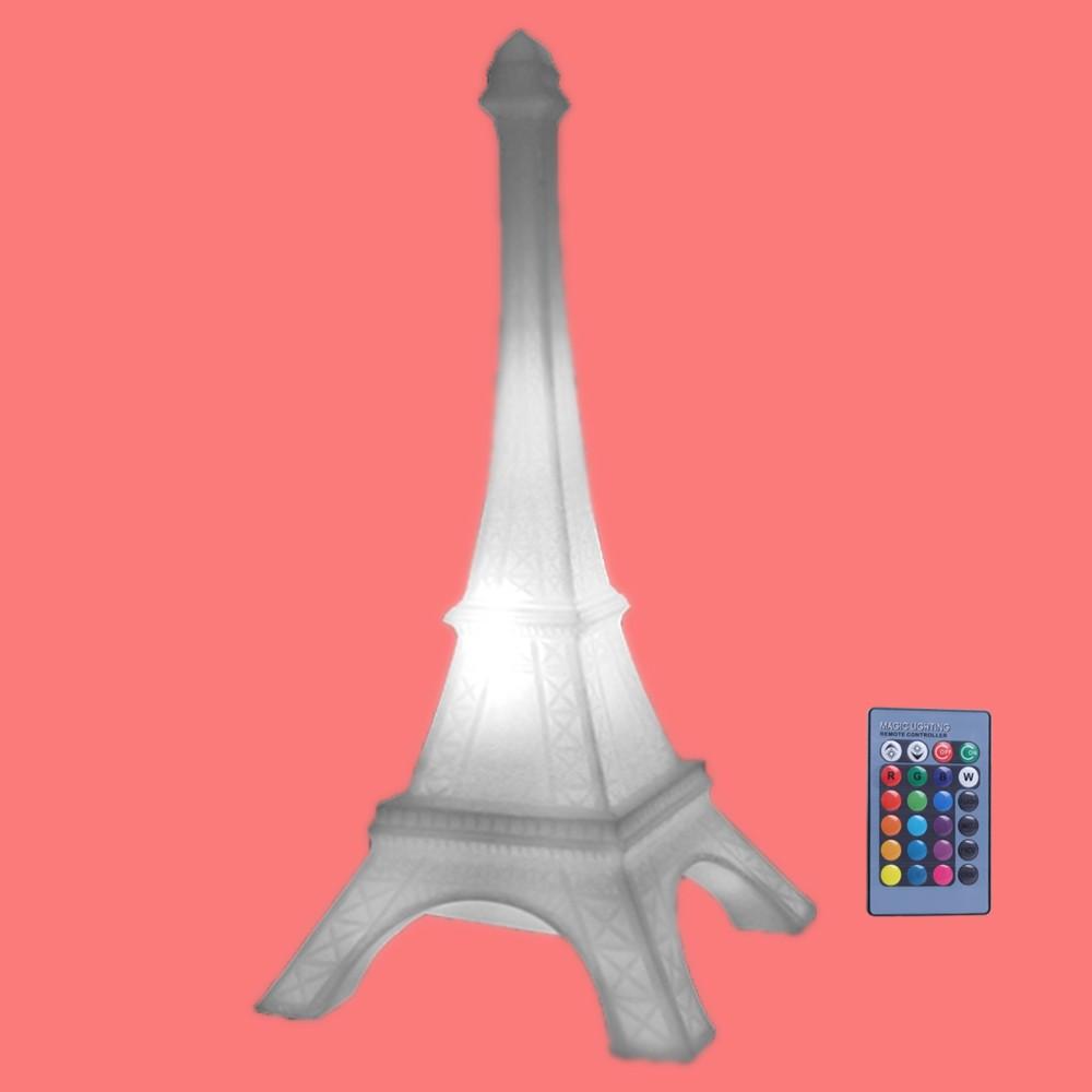 Luminária Torre Eiffel Natural Com Fio, Lâmpada LED RGB e Controle