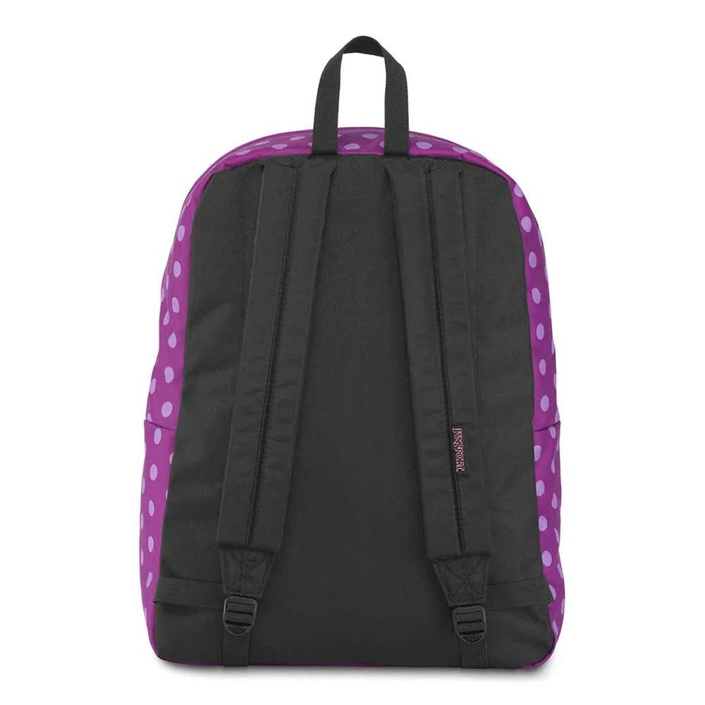 Mochila Jansport Black Label Superbreak Purple Plum Polka Dot