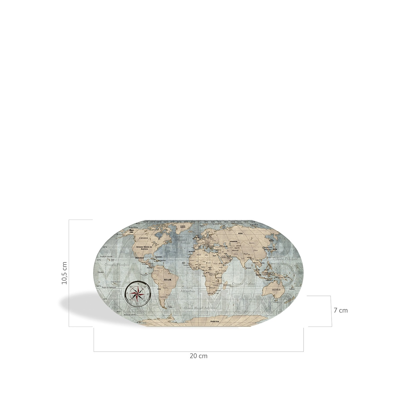 Porta-Lápis Mapa Mundi Vintage