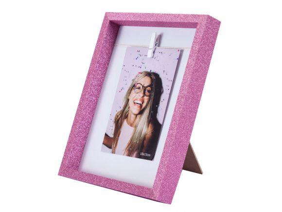 Porta-Retrato Clip Glitter - Rosa