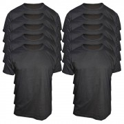 Kit 10 Camisetas Pretas Masculinas Básicas - 100% Algodão Camisa Preta
